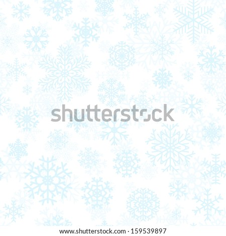 Christmas seamless pattern from light blue snowflakes on white background - stock vector