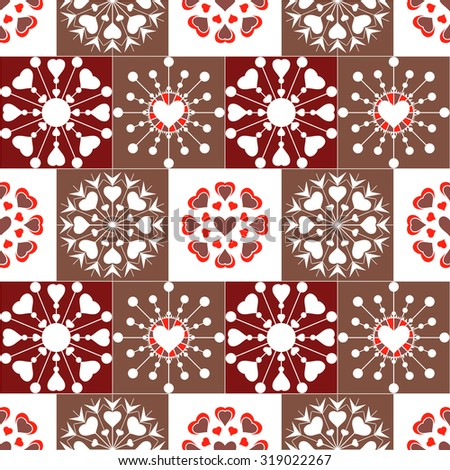 Christmas seamless pattern of heart view snowflakes. New Year, Valentine day, birthday texture. Unusual stylized ornament. Red, brown, white colored background. Winter theme. Vector illustration. - stock vector