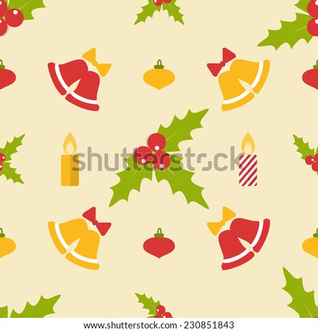 Christmas seamless pattern with bells and mistletoe in flat style - stock vector