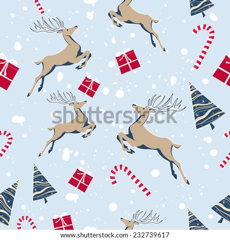Christmas Seamless Pattern with Deer, Gift Box and Christmas Tree - stock vector