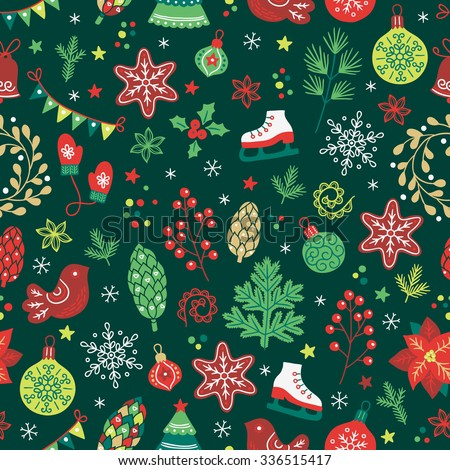 Christmas seamless pattern with fir tree, mittens, balls, baubles, poinsettia, cookies, bird, cone, berries, fir branches, garland, flowers, snowflakes, wreaths, skates, confetti on dark background - stock vector