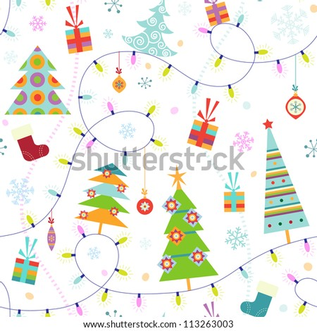 Christmas seamless pattern with fir trees and lights - stock vector