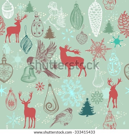 Christmas seamless pattern with hand drawn Xmas tree decorations snowflakes deer trees birds snowmen baubles and snow in retro pastel tones - stock vector