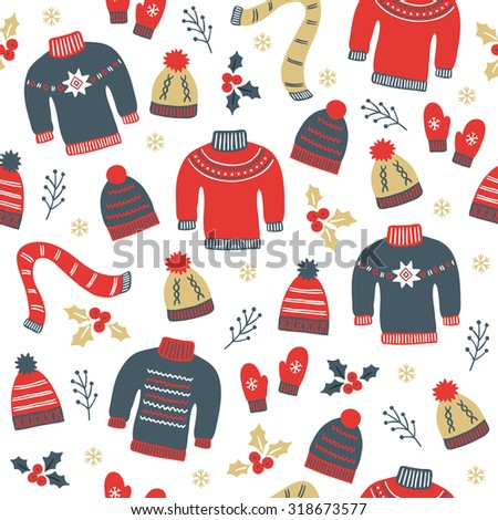 Christmas seamless pattern with hats, sweaters, mittens, scarf, snowflakes, branches and poinsettia. Perfect for wallpapers, gift papers, patterns fills, textile, Christmas and New Year greeting cards - stock vector