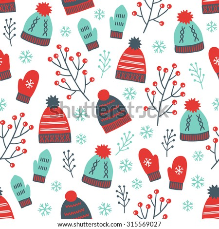 Christmas seamless pattern with mittens, hats, branches and snowflakes. Perfect for wallpaper, gift paper, pattern fills, textile, Christmas and New Year greetings cards - stock vector