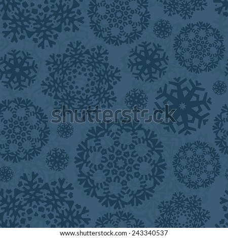 Christmas seamless pattern with ornamental snowflakes made in vector. Xmas texture. Graphical holiday background for invitations. - stock vector