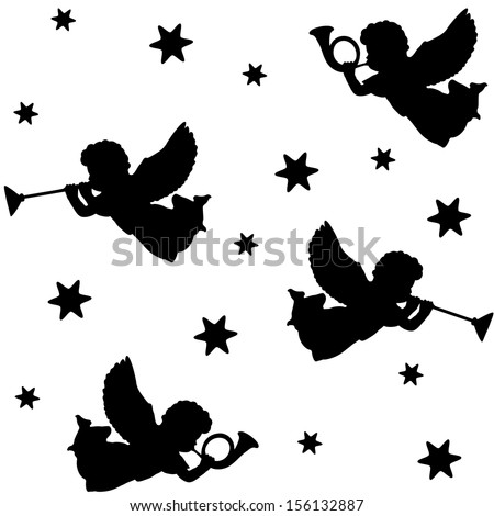 Christmas seamless pattern with silhouettes of angels, trumpets and stars, black icons, vector illustration - stock vector