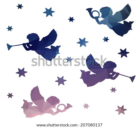 Christmas seamless pattern with silhouettes of angels, trumpets and stars, polygonal design, vector illustration - stock vector