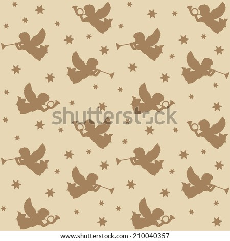 Christmas seamless pattern with silhouettes of angels, trumpets and stars, vector illustration - stock vector