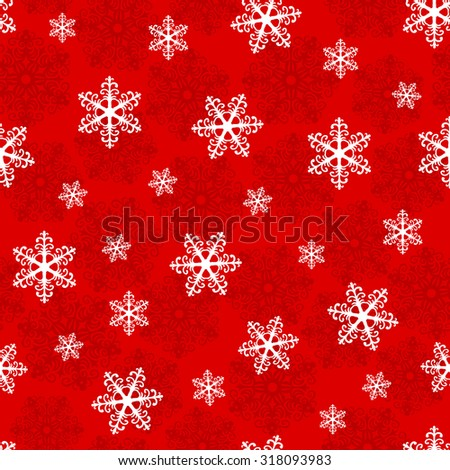 Christmas seamless pattern with snowflakes on a red background. Vector  illustration - stock vector
