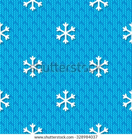 Christmas seamless pattern with snowflakes on blue knitted background - stock vector