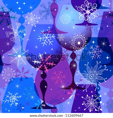 Christmas seamless pattern with translucent blue glasses and snowflakes. (vector EPS 10) - stock vector