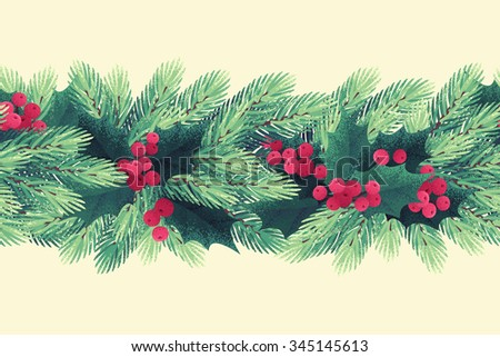 Christmas seamless stripe with fir branches, holly leaves and berries. Retro vector illustration - stock vector