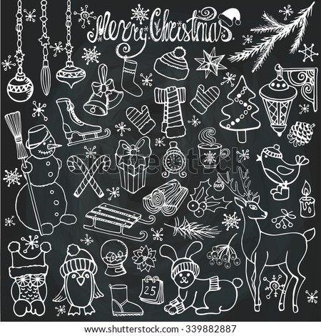 Christmas season doodle set.Winter decoration,snowflakes,Knitted wear,animals,birds,snowman,garlands,other holiday symbols, new year elements.Hand drawn vintage vector,background.Wood story.Chalkboard - stock vector
