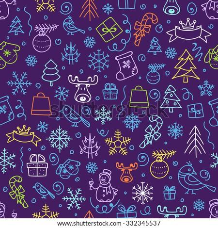 Christmas season vector seamless pattern. Xmas hand-drawn color elements - stock vector