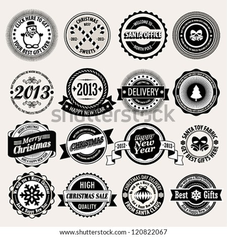 Christmas set - black and white labels, emblems. Vector illustration. - stock vector