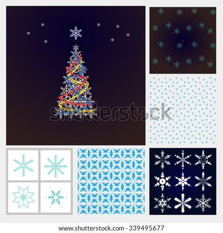 Christmas set. Christmas tree, snowflakes, snow background Frosty pattern - for decoration of Christmas greetings, postcards sites. - stock vector