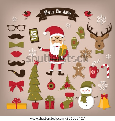 Christmas set icons - stock vector