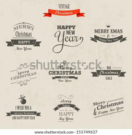 Christmas set - labels, emblems and decorative elements - stock vector
