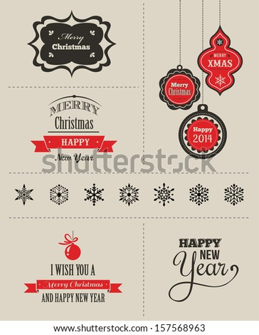 Christmas set - labels, emblems and elements - stock vector