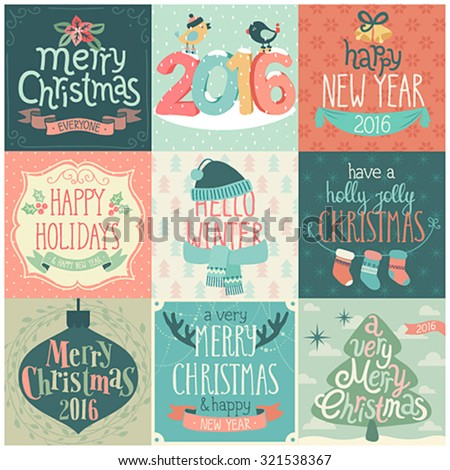 Christmas set - labels, emblems and other decorative elements. - stock vector