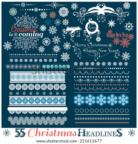Christmas set of Borders with Snowflakes. Vector illustration. - stock vector