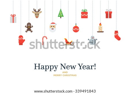 Christmas set of icons and elements, tree, deer, present, stocking, mitten and Santa. Vector Christmas Card with Happy New Year lettering - stock vector