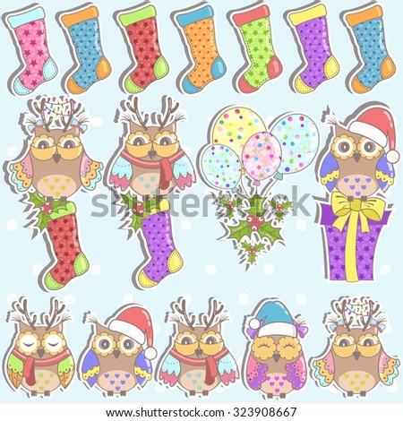 Christmas set of owls, gifts, Christmas socks and balloons - stock vector