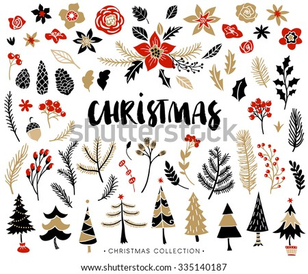 Christmas set of plants with flowers, spruce branches, leaves and berries. Christmas trees. Handwritten modern brush lettering. Hand drawn design elements. - stock vector