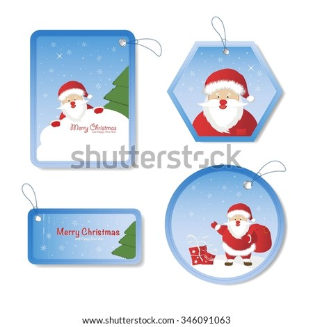 Christmas set - Santa Claus, emblems and other decorative elements. Vector illustration. - stock vector