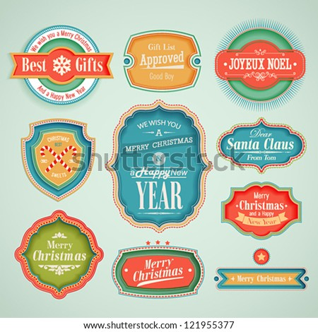 Christmas set - scrapbook labels and emblems. - stock vector