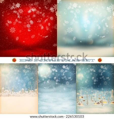 Christmas set, snowfall. EPS 10 vector file included - stock vector