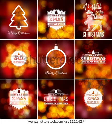 Christmas Set - Typographic Design with Blurred Lights Background - stock vector