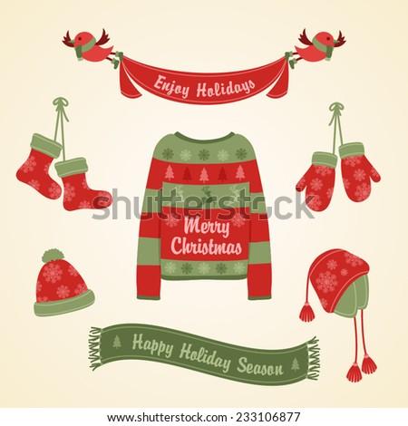 Christmas set. Warm clothes for Christmas. - stock vector