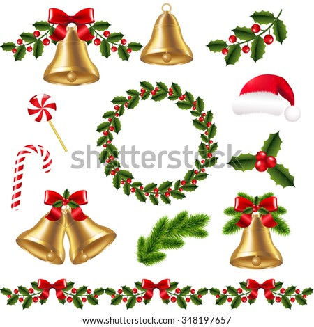Christmas Set With Gradient Mesh, Vector Illustration - stock vector