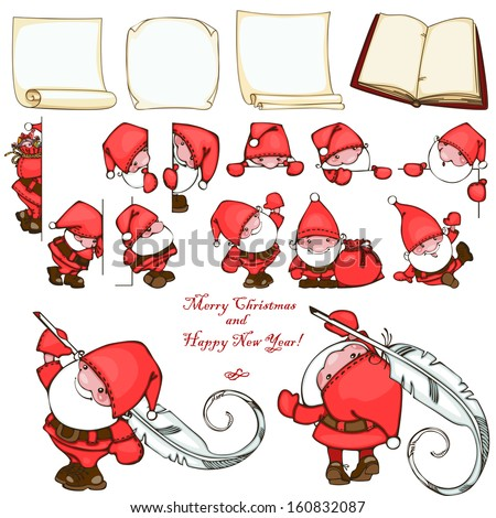 Christmas set with paper blank and Santa Claus. - stock vector