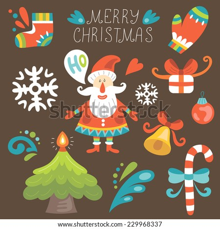 Christmas set with Santa Claus. Vector illustration - stock vector