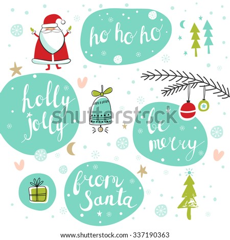 Christmas set with Santa, tree, jingle bell, Christmas decorations, and gift. Template for Greeting Scrapbooking, Congratulations, Invitations. Lettering collection. Vector illustration - stock vector