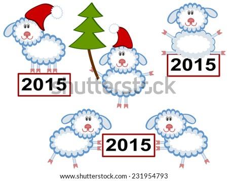 Christmas ,sheep. - stock vector