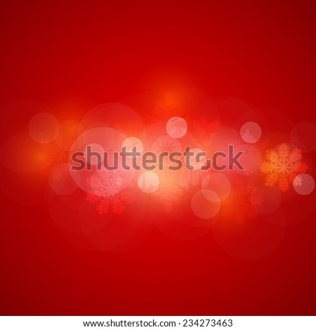 Christmas Shine Concept Blurred Snowflakes, Banners, Cards Template Red Background - stock vector
