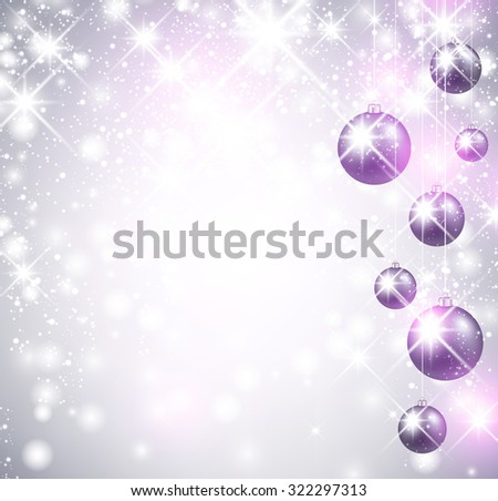 Christmas shining background with balls. Vector Illustration. - stock vector