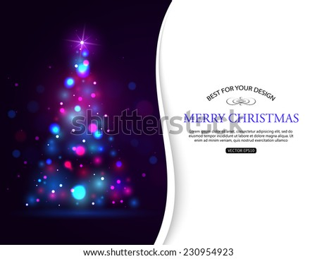 Christmas shining typographical background with xmas tree lights and place for text. Vector illustration. - stock vector