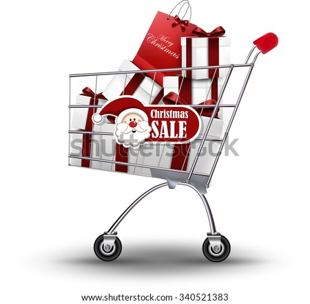 Christmas shopping and gifts on isolated background.Vector - stock vector
