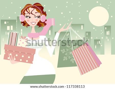 Christmas Shopping Girl- City in Winter Background - stock vector