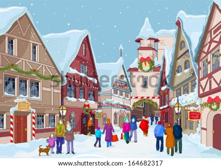 Christmas shopping street at winter day - stock vector