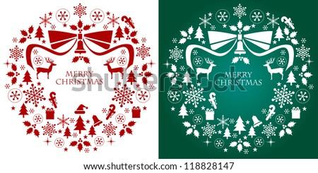 Christmas silhouette collection wreath. Design elements. Vector. - stock vector