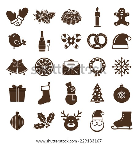 Christmas silhouettes icons. Santa and deer, horses and gift, snow man and jingle bells, wreath and noel tree - stock vector