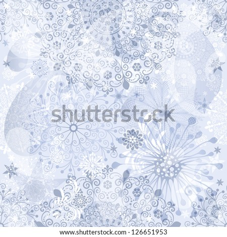 Christmas silver and gray seamless pattern with translucent vintage snowflakes and paisley (vector EPS 10) - stock vector