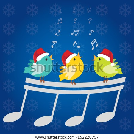 Christmas singing birds. Vector illustration of three little birds singing happily with musical notes and Christmas snowflake background. - stock vector