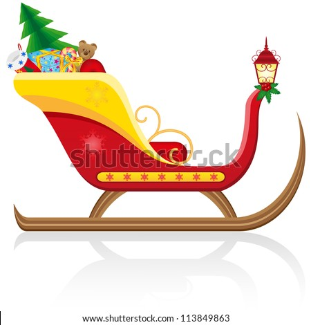 christmas sleigh of santa claus with gifts vector illustration isolated on white background - stock vector
